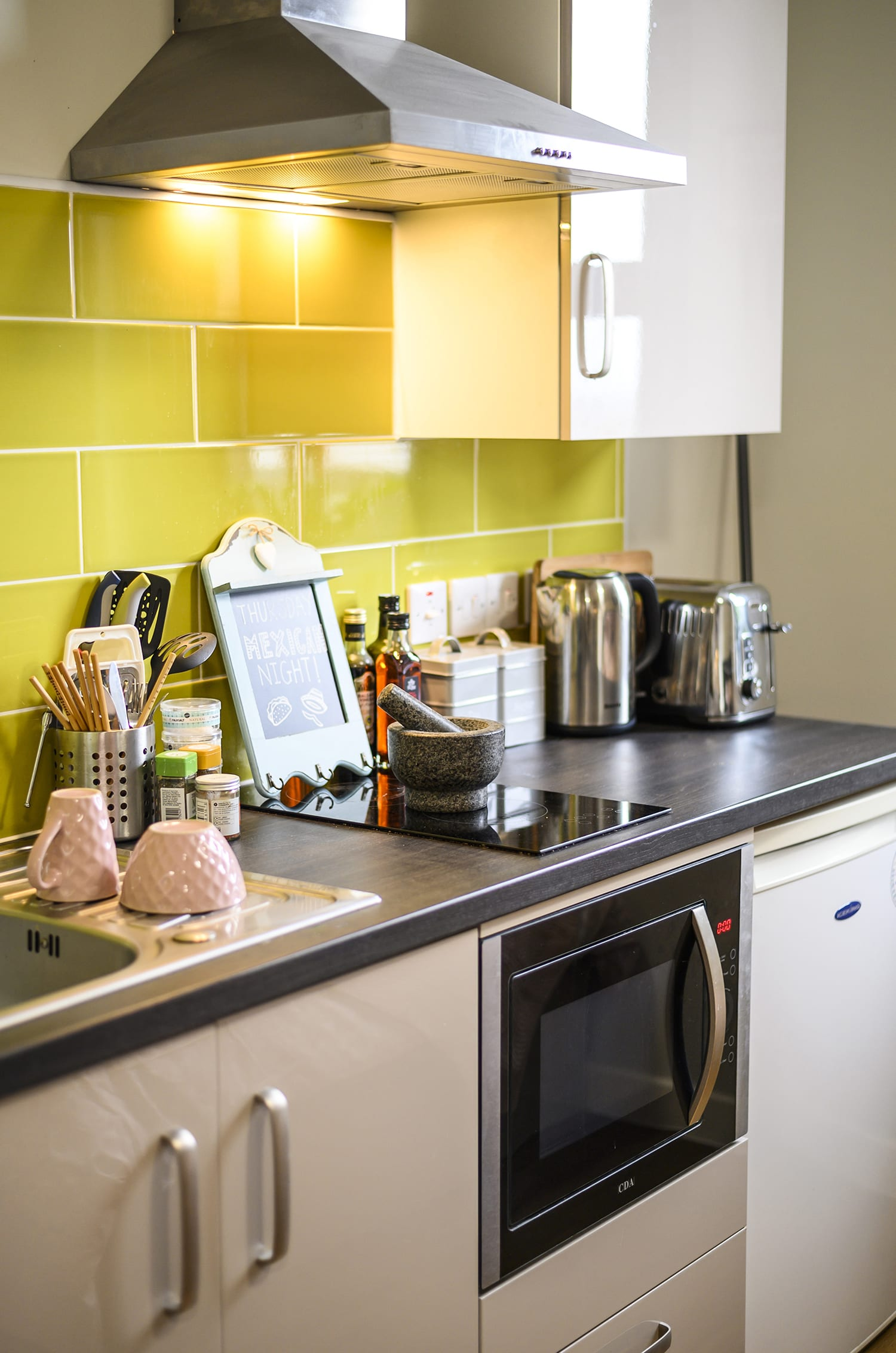 oven and kitchen workspace in Chronicle House student accommodation