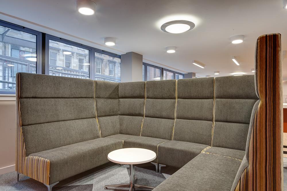 sofa area in Robert Owen House Glasgow