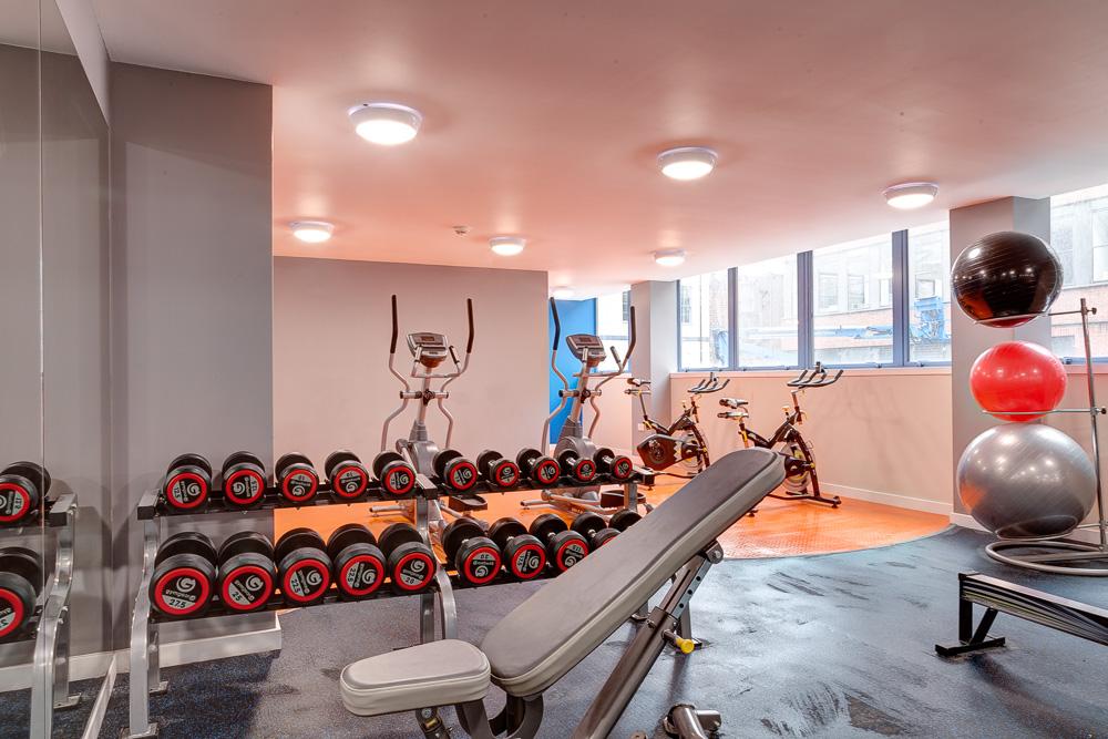 gym and weights in Robert Owen House Glasgow