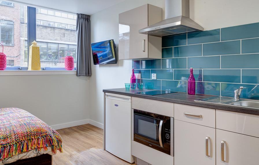 kitchen in student studio apartment robert owen house