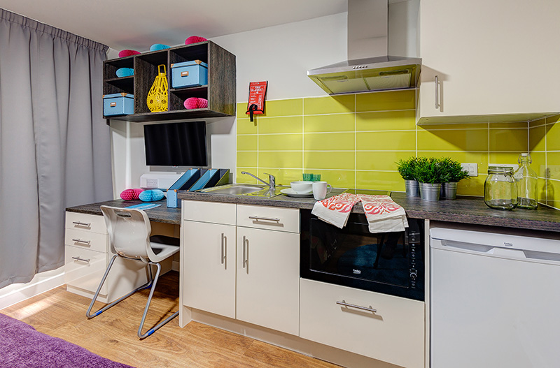 kitchen and desk in student apartment