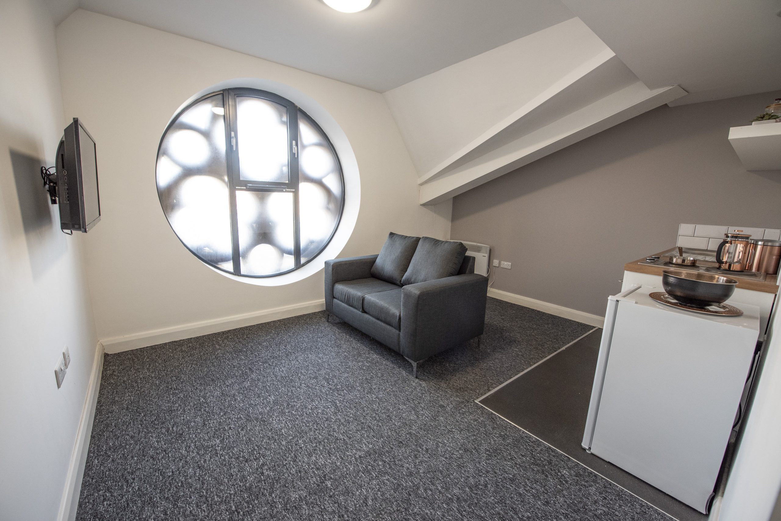 living room in student apartment St Cyprians, The Church Liverpool
