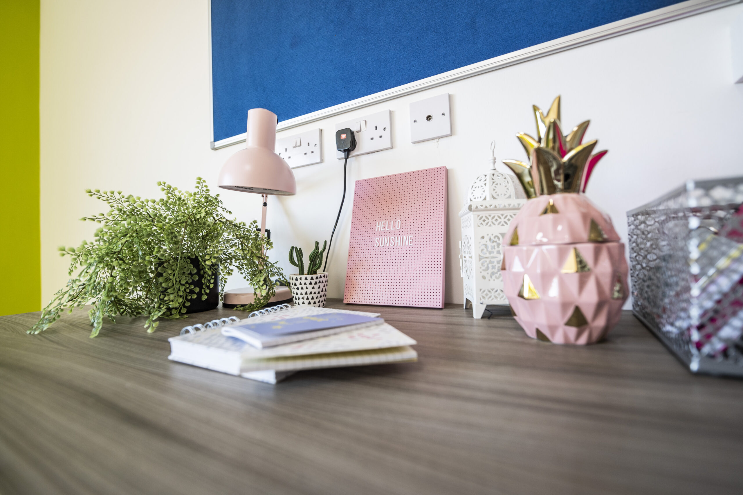 desk and chair set up in student's studio flat