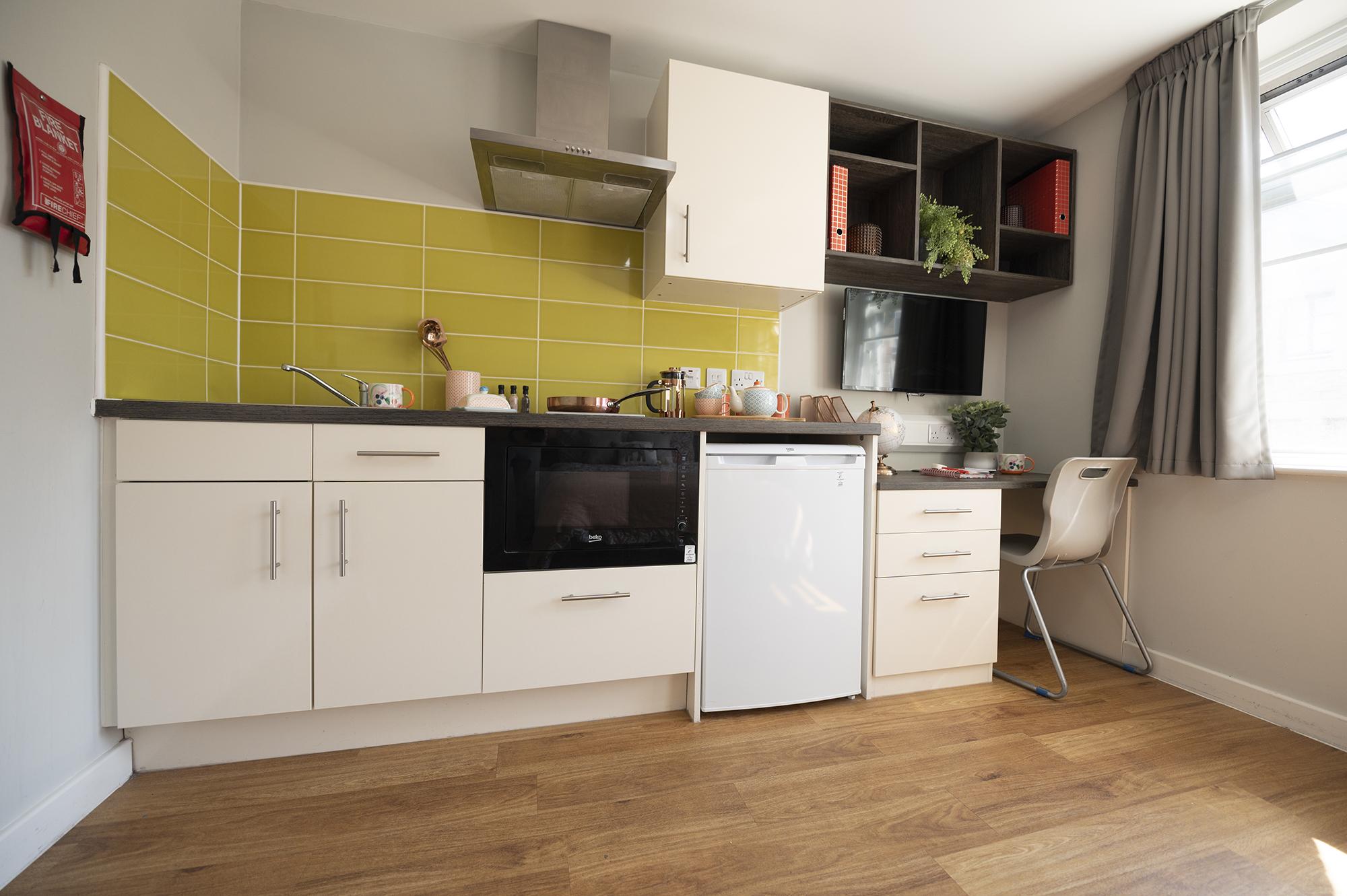 kitchen and desk